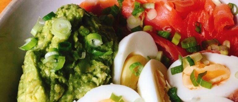Кето диетический завтрак с лососем